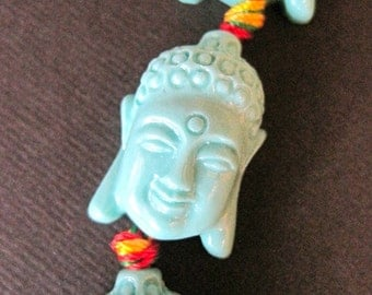 2 TURQUOISE Tibetan Buddha Beads