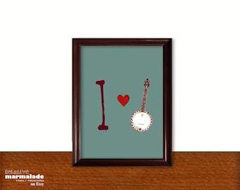 11X14 I HEART BANJO Print