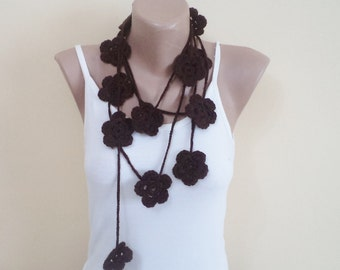 Mothers day gifts, mom gifts, crochet scarf, floral scarves, mom gift ideas, brown, floral scarf, cute gifts