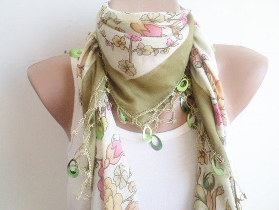 Women accessories, spring scarf, mom gifts, unique cheesecloth, beaded lace, green shawl,stylish accessory,thin scarf