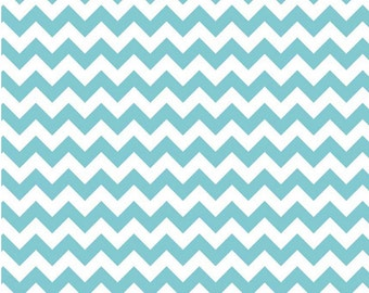 Small Chevron Aqua  by Riley Blake Designs Half  Yard Cut