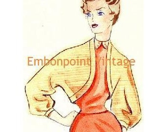 Plus Size (or any size) Vintage 1949 Bolero / Shrug Sewing Pattern - PDF - Pattern No 44 Daisy
