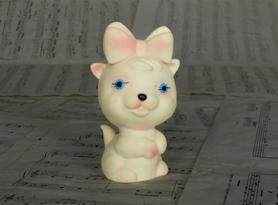 Vintage Rubber Toy Kitty, Small Cat Girl