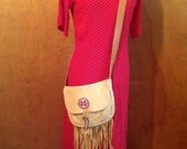 Vintage leather beaded Indian pouch