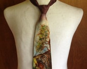 Vintage hand painted  pheasant hunting dog in woods necktie sold by Mayfair Shirt Shops, Times Square NY