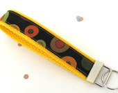 Key Fob Wristlet Keychain in Gold Avocado and Rust Circle Dots on Black Keys Holder - Teacher Appreciation Gift.