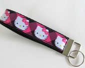 Keychain Wristlet / Key Fob Wristlet - Hello Kitty Pink and Black plaid on Black Cotton Webbing Teen Girl Gift