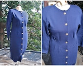 Plus Size Navy Blue Long Sleeved Wool Dress Gold Buttons Size 14