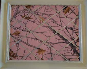 French Memo board - 16x20 Pink Camo with silver ribbon