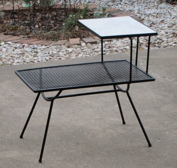 Mid Century Modern Marble Table: Mid Century Modern Wrought Iron End Table With Italian Marble
