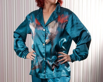 Silk pajama, for women, made to order, you choose color combination, perfect gift for her, satin, silk pyjamas, very soft comfy sleep wear
