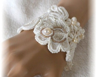 Bridal Bracelet - White Floral Lace With Pearls and Seed Beads