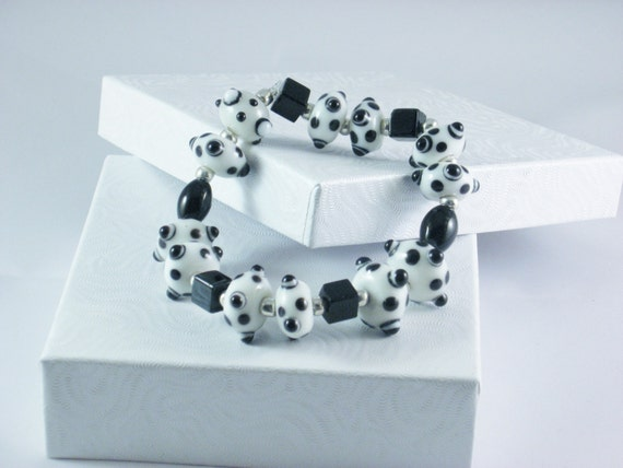Beaded, Stretch Bracelet in Black and White