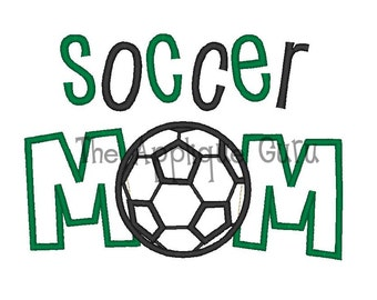 Soccer Mom Applique Machine Embroidery Design 5x7 and 6x10