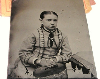 Tintype Photo....Odd Gypsy  Child In Unusual Clothing .....1900's ......... Androgynous Child Tintype Photo