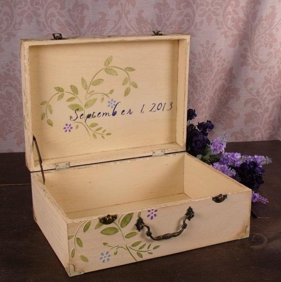 Wedding Card Box - Shabby Chic Memory Box  Blues and Purples, LHB