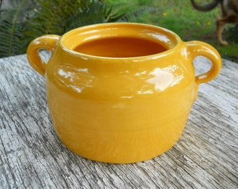 Los Angeles Bright Crayon French Country Yellow Bauer Plain Ware Country Bean Pot Bowl Vintage 1930's Antique Primitive Stoneware Pottery
