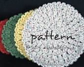 Round Dishcloth PATTERN, 4 Sizes, Washcloth, Hot pad, Doily, Facial Scrubbie, Coaster, Cleaning Sponge, Crochet, INSTANT DOWNLOAD