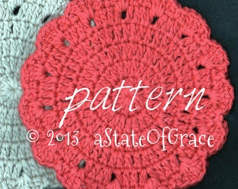 Dishcloth PATTERN # 3, Washcloth, Coaster, Doily, Hotpad, Crochet, INSTANT DOWNLOAD