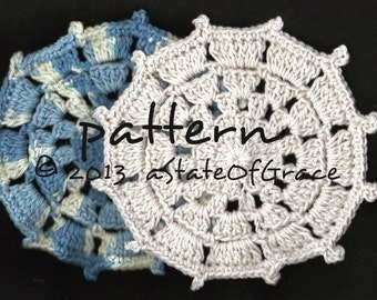 Dishcloth PATTERN # 6, Washcloth, Coaster, Doily, Hotpad, Crochet, INSTANT DOWNLOAD