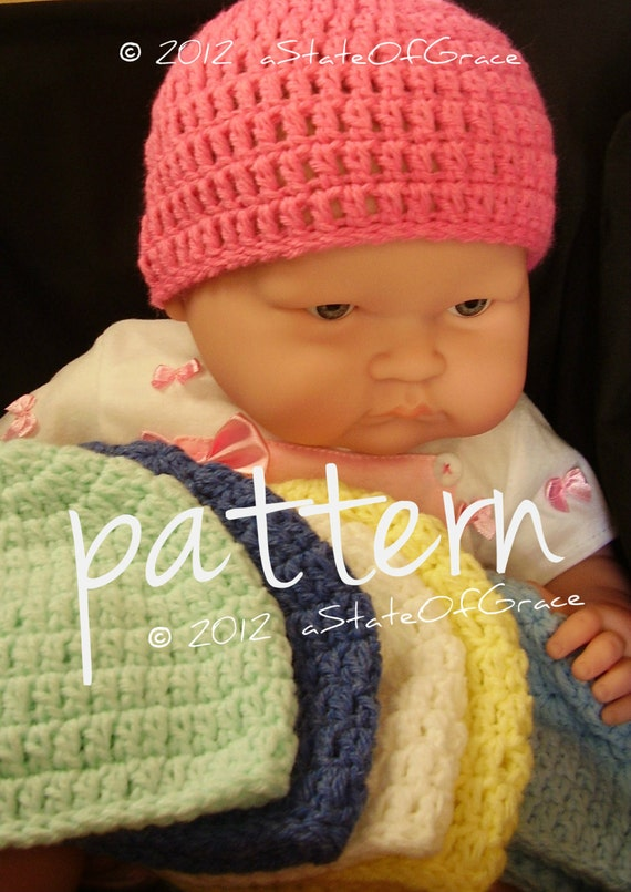 Baby Beanie Hat PATTERN, Quick and Easy Crochet, Newborn to 3 month plus Preemie size, INSTANT DOWNLOAD
