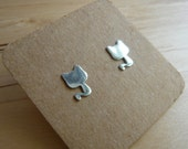 Cute 925 silver cat earring stud