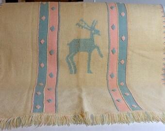 Hand Made Crochet Baby Afghan Blanket with Deer