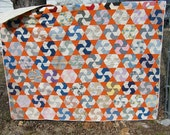 REDUCED Orange Handmade Vintage Quilt with Early 1900s Fabric