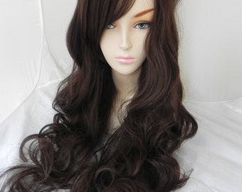 Chocolate Brown / Long Curly Layered Wig Mermaid Hair with Natural Scalp Piece