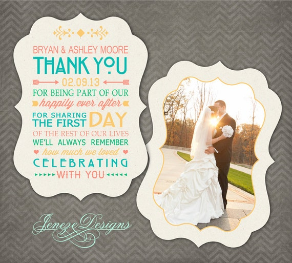 Luxe Wedding Thank You Card Photoshop Template Item TC018