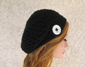 Crochet black slouchy beanie beret tam with white button knit winter / summer / spring