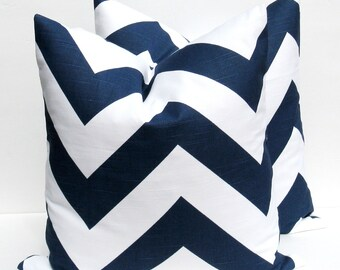 Decorative Throw Pillows Chevron Pillow Blue Pillow Throw Pillow Covers 18x18 Navy Blue Pillow Accent Pillow  printed fabric on both sides