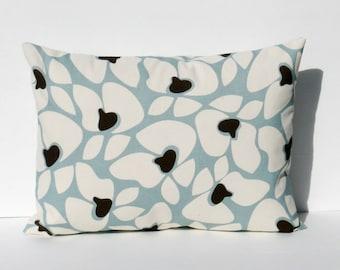 Decorative Throw Pillows Lumbar Pillow Cover Blue Pillow Rectangular Pillow Cover 16x20 or 16x24 Chocolate Brown Printed Fabric both sides