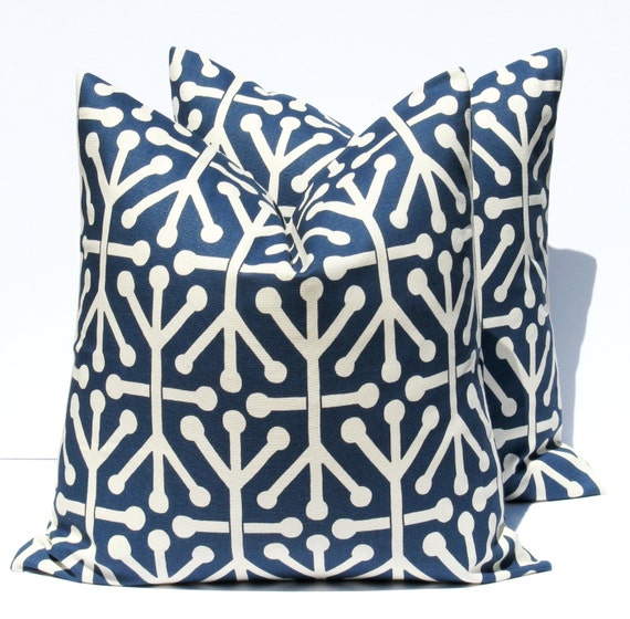 Decorative Pillows In Navy Blue : Items similar to Decorative Throw Pillows Navy Blue Pillow Dark blue 16x16 Housewares printed ...