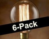 6-Pack Nostalgic Edison Bulbs - Globe Style Vintage 40-watt - Light - Lamp - Coffee Table - Edison - Steampunk Bulb