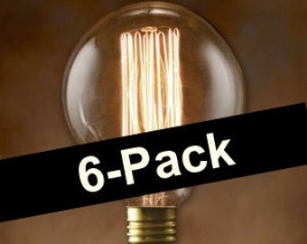 6-Pack Nostalgic Edison Bulbs - Globe Style Vintage 40-watt - Light - Lamp - Coffee Table - Edison - Steampunk Bulb