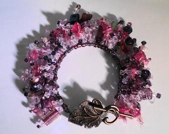 Pink Crystal Bracelet Purple Crystal Bracelet Beaded Fringe Bracelet
