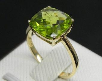 Anniversary Ring - 3 Carat Peridot Ring In 14k Yellow Gold