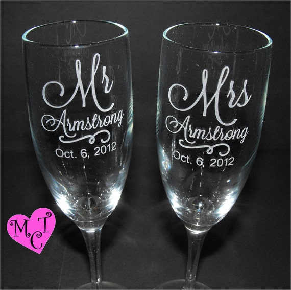 Unique bride gifts wedding champagne flutes monogrammed - Unusual champagne flutes ...