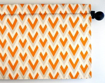 Handmade Chevron Orange/Gray Window Curtain aka ZigZag Pattern (curtain rod not included)