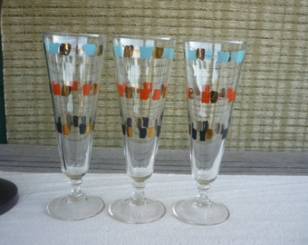 Set of 3 Tall Cocktail Glasses with Black, Gold, Orange and Turquoise Geometric Design, Mid Century Modern Glassware