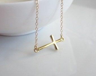 Sideways Cross Necklace, tiny cross necklace, gold cross necklace, dainty necklace, minimalist jewelry