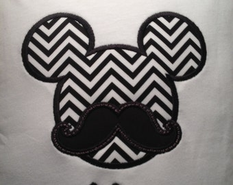 Disney Mustache Mickey Mouse Applique Shirt