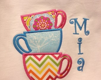 Tea Cups Applique Shirt