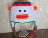 RAINBOW SOCK MONKEY Hat. Clearance Sale.