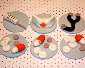 NURSE / DOCTOR  -  Fondant Cupcake, and Cookie Toppers - 1 Dozen