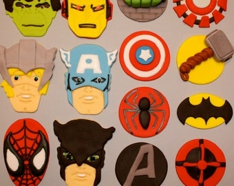 SUPER HERO AVENGERS  -  Fondant Cupcake, and Cookie Toppers - 1 Dozen