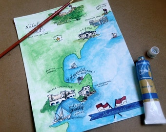 Illustrated Watercolor Wedding Map