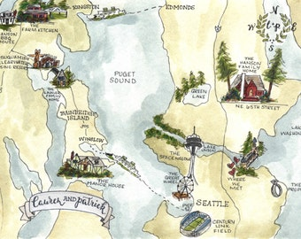 Custom Wedding Map. Hand Drawn Wedding Map with Watercolor Illustrations