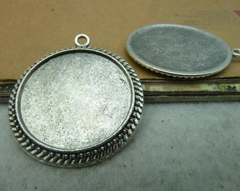 20 round beaded bezel setting cabochon mounting, antique silver , 25mm- WC2913